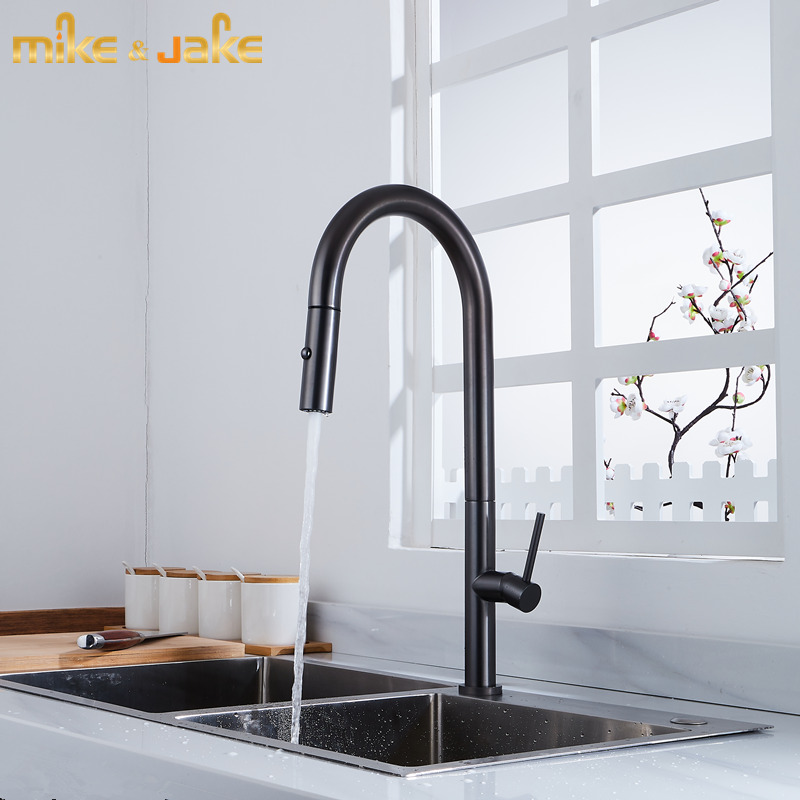 Gunmetal Gray Kitchen Faucet Gun Metal Kitchen Mixer Hot And Cold Pull Out Kitchen Tap Sink Crane With Double Function Shower