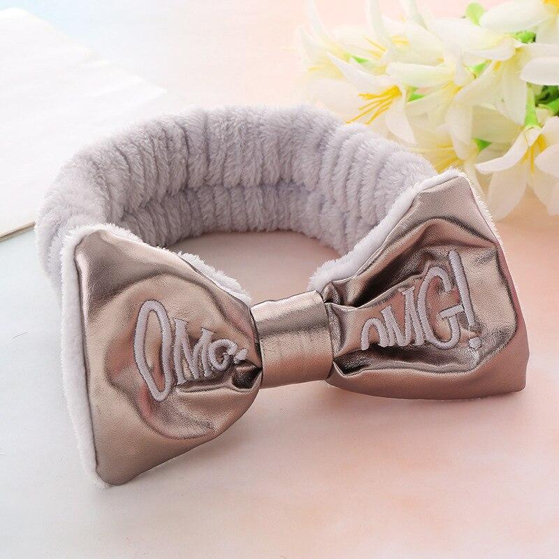 Повязка на голову женская с бантом и надписью «OMG», тюрбан для мытья лица для девушек, эластичная лента для волос для макияжа, аксессуары для ...