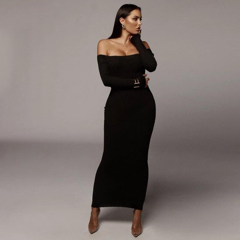 Осеннее Сексуальное женское платье с открытыми плечами, модное облегающее платье с длинным рукавом, повседневные эластичные трикотажные вечерние платья на бретельках|Платья| | АлиЭкспресс