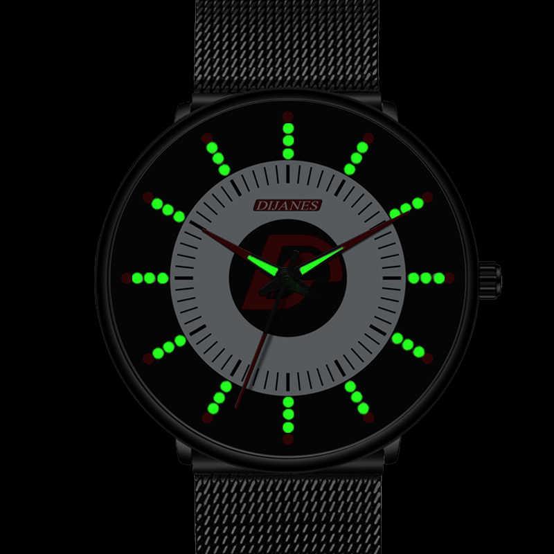 Minimalist Mensแฟชั่นสีดำคลาสสิกนาฬิกาผู้ชายหรูหราสบายๆนาฬิกาควอตซ์นาฬิกาตาข่ายเข็มขัดส่องสว่างนาฬิกาRelogio Masculino