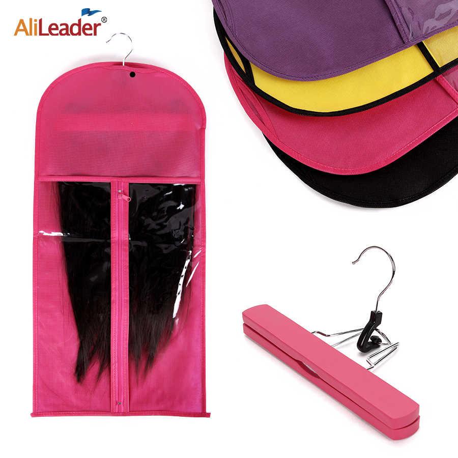 Alileader Rosa Schwarz Haar Tasche Mit Perücke Lagerung Halter Für Haarteile Nicht-woven Transparent Perücke Zubehör Perücken Lagerung Tasche