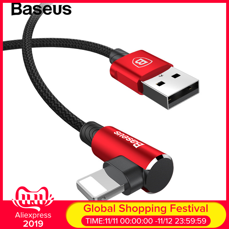 Baseus 90 Degree Fast Charging USB Cable for iOS System USB Data Cable Charger Cable for iPad iPhone 6 7 8 Plus Mobile Data Cord-in Mobile Phone Cables from Cellphones & Telecommunications on AliExpress - 11.11_Double 11_Singles' Day