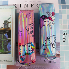 Holographic Laser Pencil Case Unicorn Handles For Girl Student High Quality PU Flamingo Box Bag School Supply Stationery