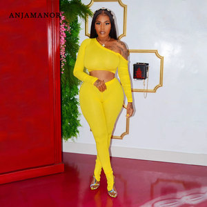 ANJAMANOR Sexy Sporty Ribbed Two Piece Set Women One Shoulder Long Sleeve Crop Tops and Split Pants Woman Sweat Suits D49-CI39