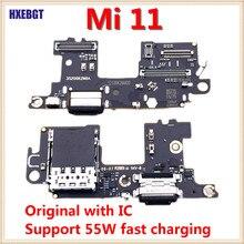 Nuovo originale con cavo Flex porta di ricarica USB IC per Xiaomi Mi 11 Mi11 scheda caricabatterie con supporto per Slot per schede Sim + microfono