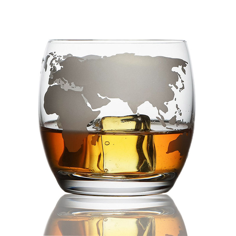 250 ML Whiskey Glass Etched Globe Glass for Vodka Rum Scotch Glass World Map Rocks Glass for Gifts image