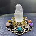Natural quartz crystal selenite tower+Mixed seven Chakra Healing Stone + Seven Star Array Wood Plate Chakra Home decor Gift