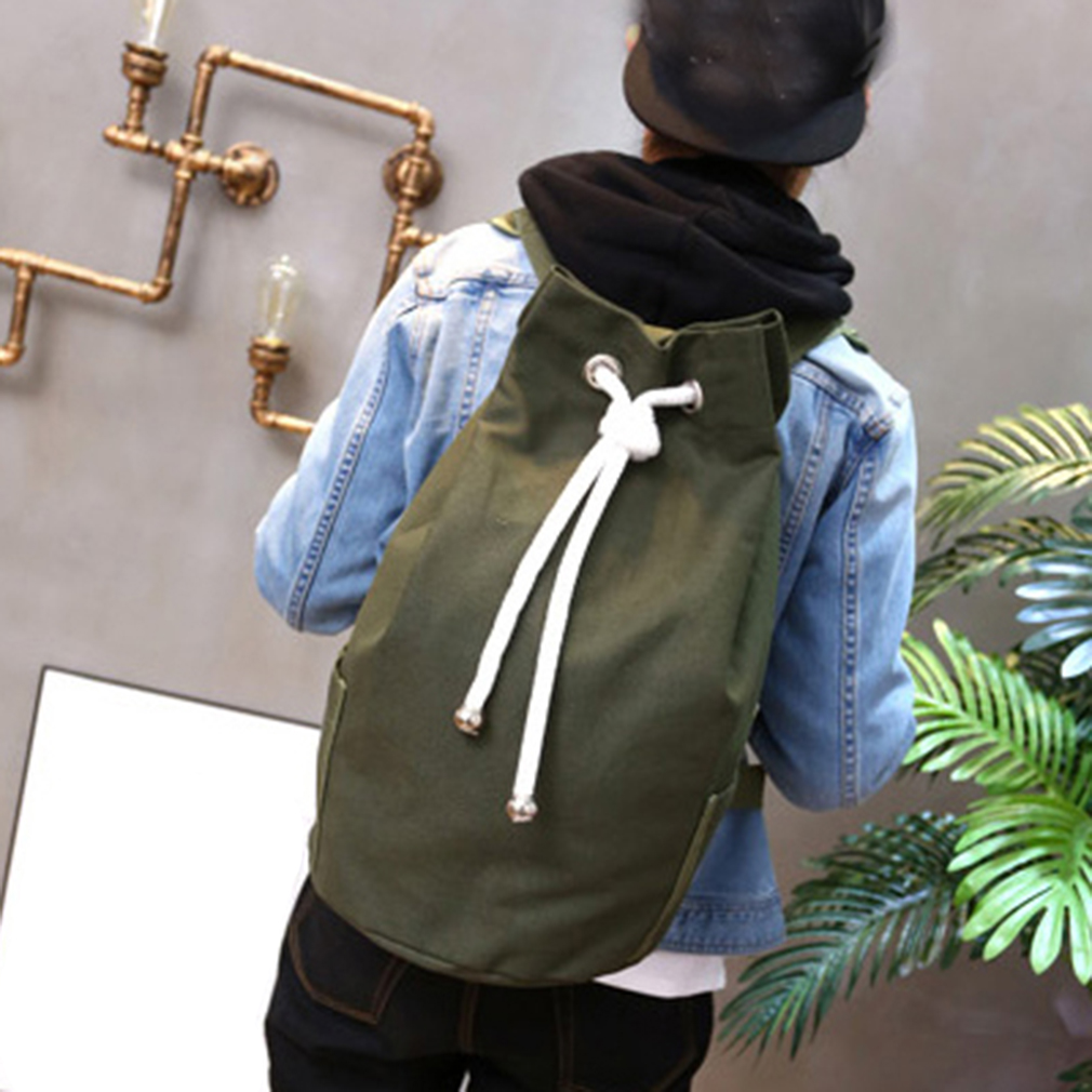 Drawstring Bags Sports Waterproof Pouch Backpack Pull Rope Canvas Gym Sack Mochila Knapsack