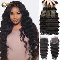 Loose Deep Wave Bundles With Closure Human Hair Bundles With Closure Brazilian Remy Hair Weave Bundles With Closure QT Hair