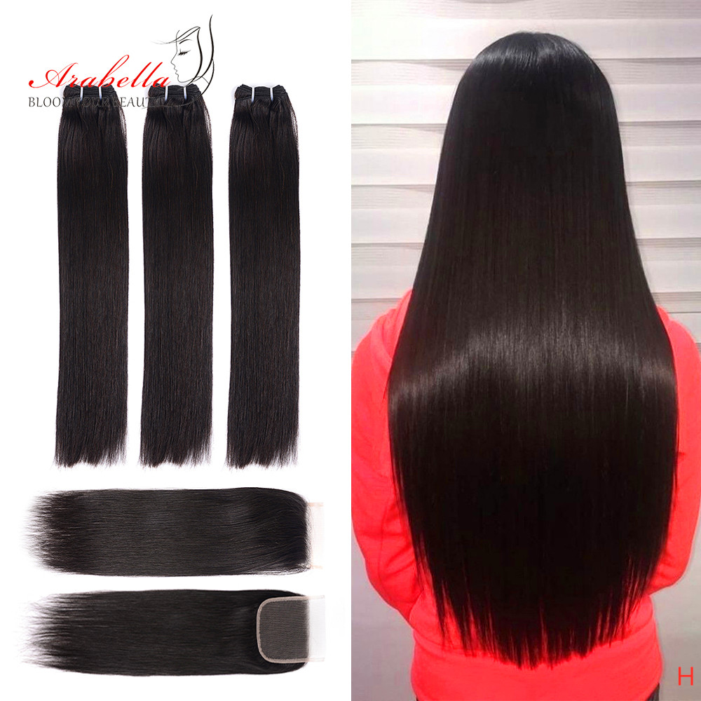 Super Double Drawn Hair Bundles With Closure PrePlucked Bleached Knots Arabella Virgin Hair  With 4*4 Double Drawn Closure 1