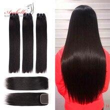 Super Double Drawn Hair Bundles With Closure PrePlucked Bleached Knots Arabella Virgin Hair Weave With 4*4 Double Drawn Closure