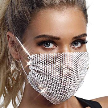 AB Diamond Crystal Masquerade Mask for Face Dance Party Jewelry Mesh Net Sequined Black Face Mask Fashion for Women Girls 2020