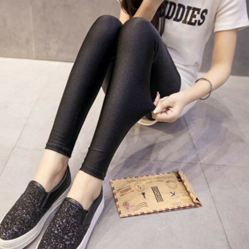 Spring New Fashion Women Shiny High Waist Stretchy Disco Dance Ladies Leggings