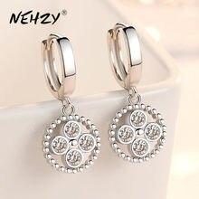 Nehzy 925 brincos de prata esterlina alta qualidade jóias mulher moda nova zircão de cristal retro oco redondo venda quente brincos