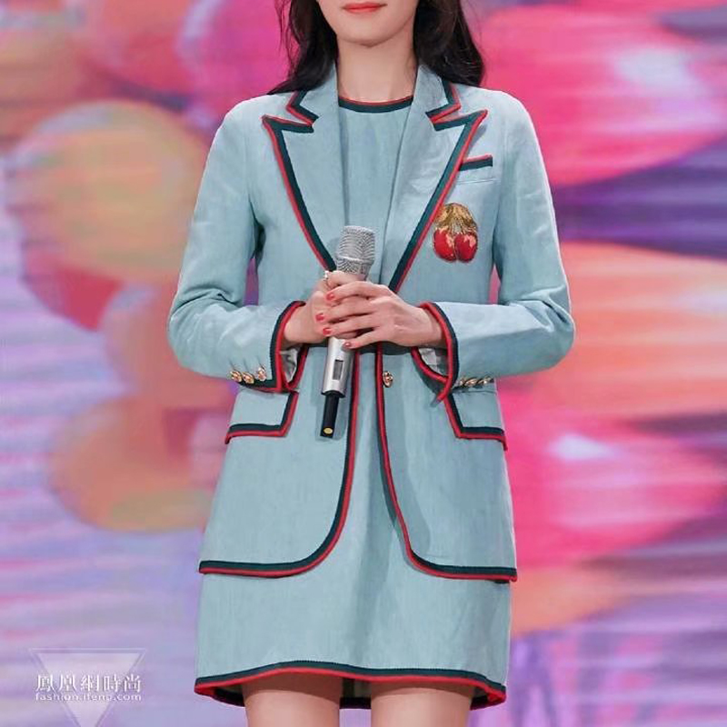 Autumn Sexy V-Neck Embroidery Cherry Three-Dimensional Decoration Long Sleeve Elegant Temperament Slim Fit Suit Jacket New image