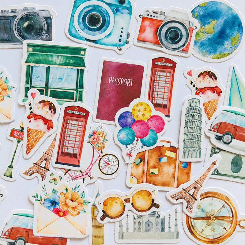 46 Pcs /Box One Person's Journey Decorative Adhesive Stickers DIY Scrapbooking Photo Sticker