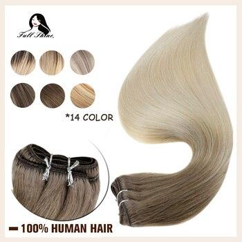 Máquina Invisible de trama de cabello con brillo completo mechones de cabello Remy Balayage Color 100g trama de piel doble trama cosido en extensiones de cabello