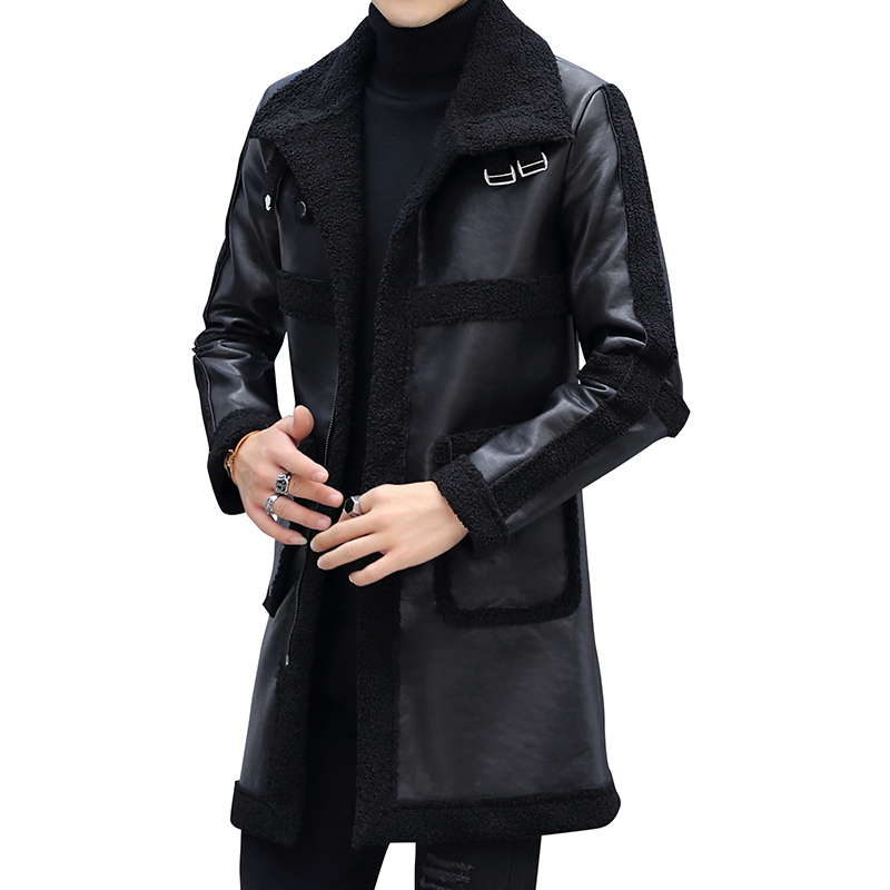 Winter Slim Motorcycle Long Leather Coats Men Casual Single-breasted Coat Mens Leather Trench Coats Lapel Black Fashion