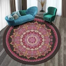 Mandala Carpet Cushion Round-Shape Yoga-Mat Bedroom Anti-Slip Living-Room Plush Indian