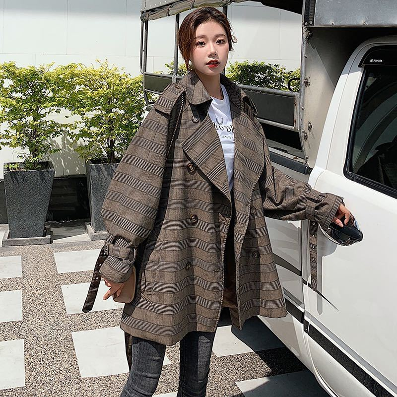 SHENGPALAE plaid double-breasted   trench   coat for women autumn winter new 2019 loose korean fashion windbreanker FU116
