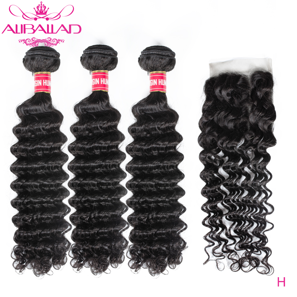 Deep Wave Bundles With Closure High Ratio Remy Brazilian Deep Curly Human Hair Bundles With Closure Aliballad Hair Weave
