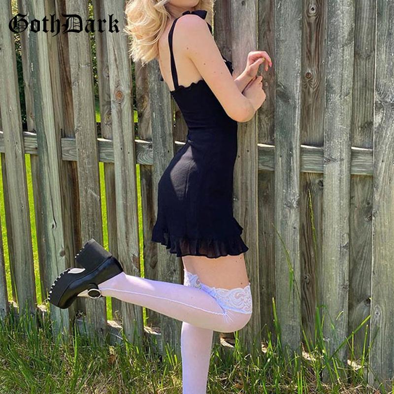 Goth Dark E girl Sweet Black Summer Mini Dresses Gothic Bandage Backless Women Sexy Mesh Wrap Sundress Bodycon Y2K 2021 Clothing