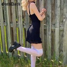 Goth Dark E-girl Sweet Black Summer Mini Dresses Gothic Bandage Backless Women Sexy Mesh Wrap Sundress Bodycon Y2K 2021 Clothing