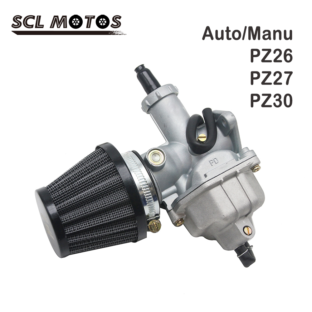 SCL MOTOS PZ26 PZ27 PZ30 Motorcycle Carburetor Air Filter Set Auto/Hand Choke Lever For GY6 XR100R XR100 CRF100F XL100S New image