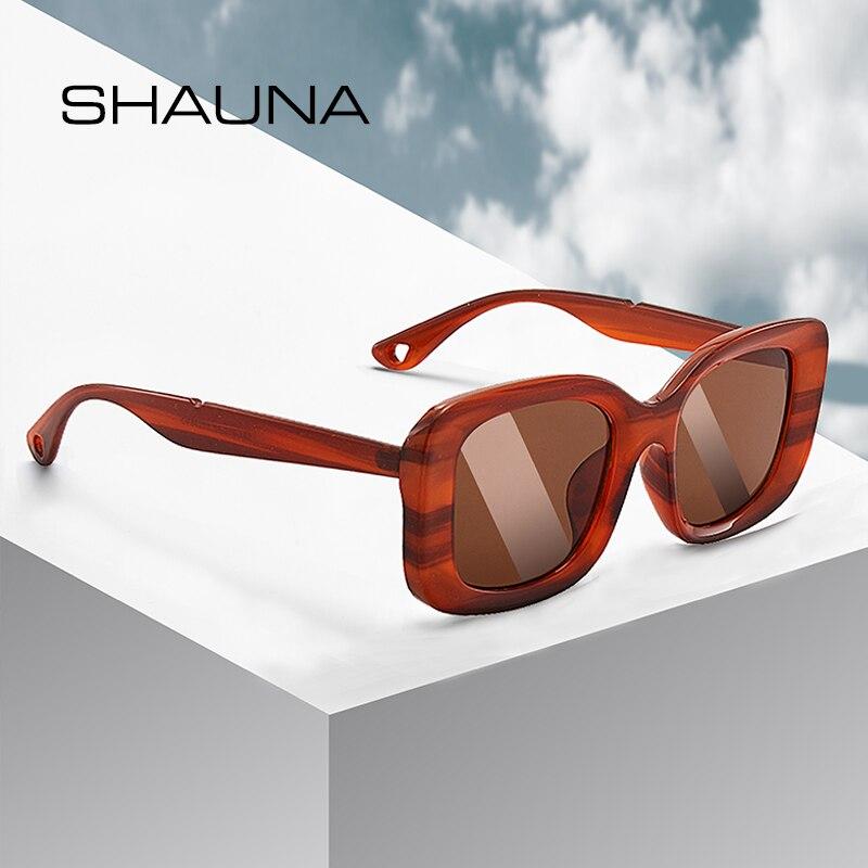 SHAUNA Retro Rectangle Sunglasses Women Fashion Champagne Shades Men UV400