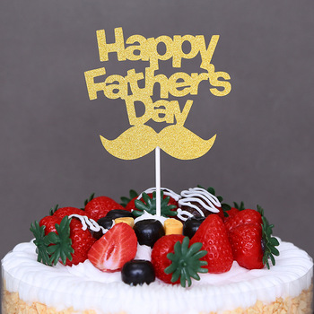 5pcs Cake Decoration Gold Slive Bread Happy Father`s Day Topper for Super Dad Birthday Supply