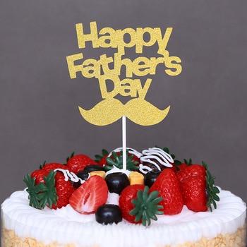 цена 5pcs Cake Decoration Gold Slive Bread Happy Father`s Day Cake Topper for Super Dad Father`s Day Cake Topper Birthday Cake Supply онлайн в 2017 году
