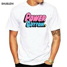 Moda topo t masculino power bottom camiseta puff meninas dos desenhos animados t orgulho gay lgbt arraste corrida hipster topo
