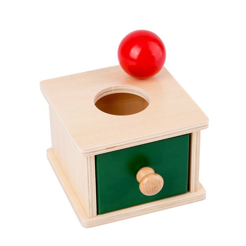 Infant Toddler Wooden Coin Ball Matching Box Montessori Tools For Baby Children R7RB