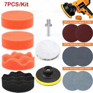 """Image 1 - 3 """"esponja do carro almofada de polimento disco polimento buffer depilação adaptador broca kits para reparação farol roda polidor refurbish ferramentas"""