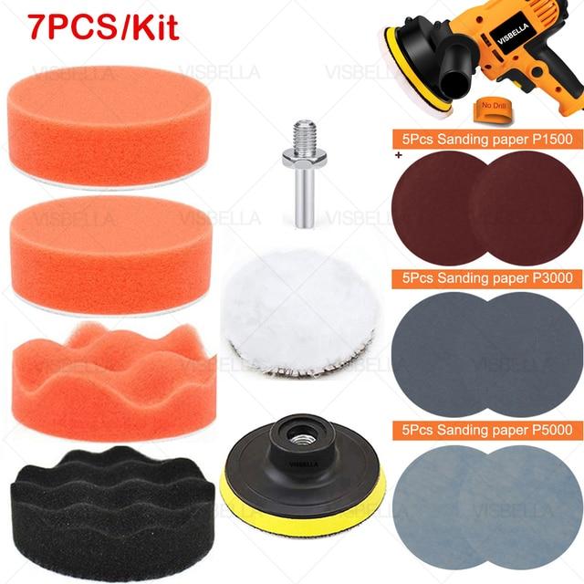 """3 """"esponja do carro almofada de polimento disco polimento buffer depilação adaptador broca kits para reparação farol roda polidor refurbish ferramentas"""