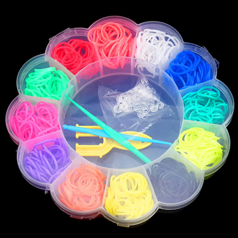 600pcs Sveglio Variopinto Bande telaio di Gomma Del Tessuto Elastico Rendono Il Braccialetto di DIY Tool set Kit Box Ragazze Regalo Giocattoli Per Bambini per I Bambini