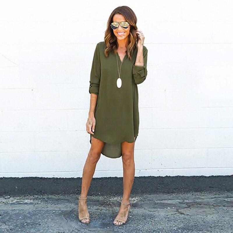 New Autumn Long Blouses Women V-Neck Long Sleeve Slim Shirts Inregular Chiffon Shirt Casual Loose Shirt Female Blusa Tops 2XL