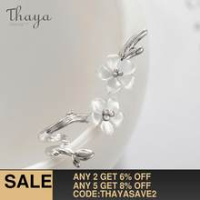 Thaya White Cherry s925 Silver Earrings Flower Round Cuff Earrings For Women Elegant Fine Jewelry(China)