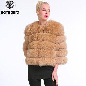 Image 4 - Echte Bontjas Vrouwen Blauw Vos Bont Jas Jas Winter Natuurlijke Bontjas Korte Afneembare Mouwen Vest Plus Size Vrouwelijke kleding 2019
