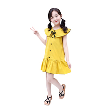 Summer Brand Leisure Girls Clothes Solid Color Collar Sleeveless dress Design Girls Dress Party Dress For 4-14 Years Dresses fashionable round collar sleeveless pleated solid color dress for women