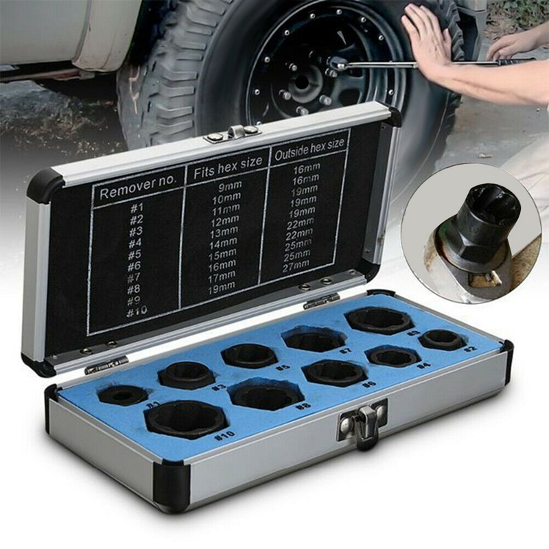 10Pcs 9-19mm Bolt Nut Remover Extractor Set Damaged Stripped Socket Wrench Tool Kit