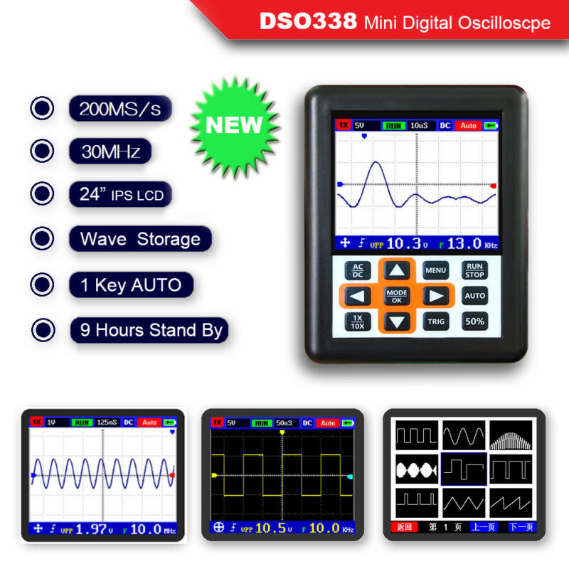 O120 <font><b>DSO338</b></font> 30MHz 200MSa/s Mini IPS LCD Digital Display Oscilloscope Set Kits image