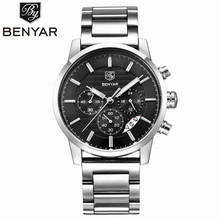 BENYAR, водонепроницаемые мужские часы, Топ бренд, роскошные, мужские часы, кварцевые часы, наручные часы, часы с хронографом, Relogio Masculino