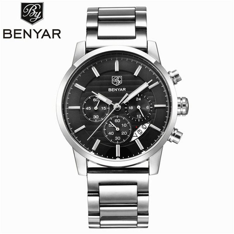<font><b>BENYAR</b></font> Waterproof Men's Watches Top Brand Luxury 2019 Men Watch Quartz-watch Wrist Watches Chronograph Clock Relogio Masculino image