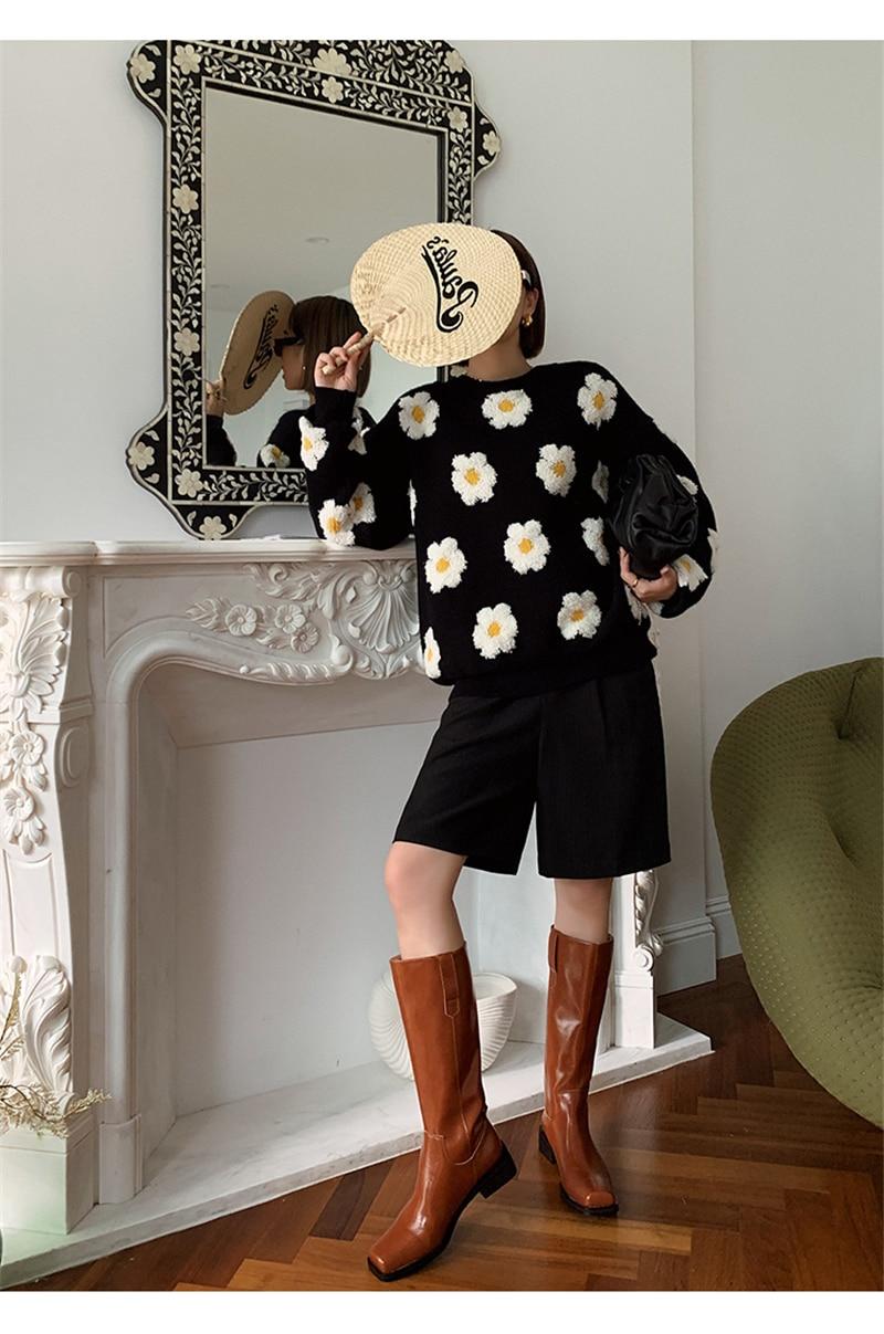 Свитер женский вязаный в японском стиле Модный повседневный