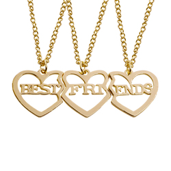 3 Pcs/Set Best Friends Necklace Gold Heart Shaped Pendant BFF Necklaces Friendship Choker For Women Girls Sisters Chains Gift