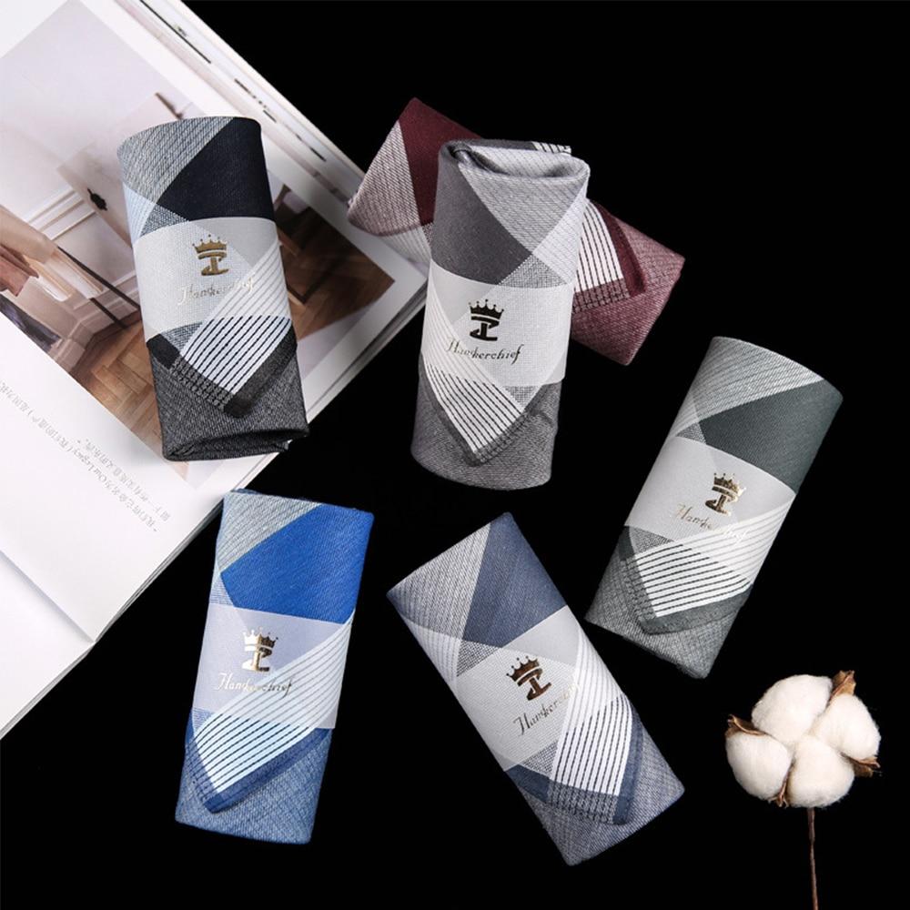 New Men Square Plaid 100% Cotton Sweat Handkerchiefs 43*43cm Men's Classic Pattern Vintage Pocket Hanky Hand Towel Gifts