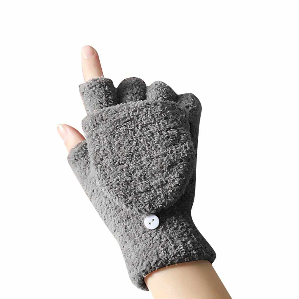 guantes handschoenen Couple's Simple Cold-Proof winter gloves With Coral Fleece Flipped Half-Finger tactical gloves luvas gants