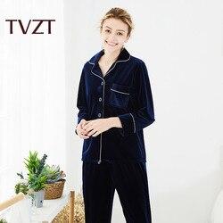 Womens gold velvet Pajamas Pyjamas Set Long Sleeve Sleepwear  Pajamas Suit Female Sleep Two Piece Set Loungewear homewear