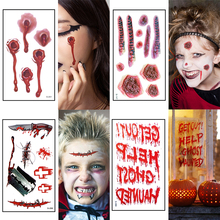 12pcs Halloween Props Waterproof Zombie Scar Temporary Tattoo Sticker Fake Bloody Makeup Scary Wound Party Decor